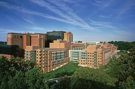 Bird's eye view of the NIH Clinical Research Center.