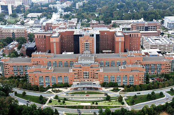 photo of the NIH Clinical Center from above.