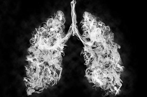 Illustration of toxic vapor in a lung