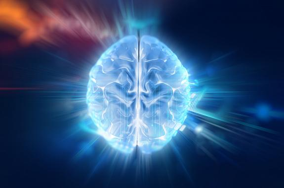 Illustration of brain on abstract background