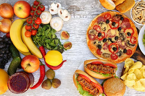 Groups of fast foods and healthy foods