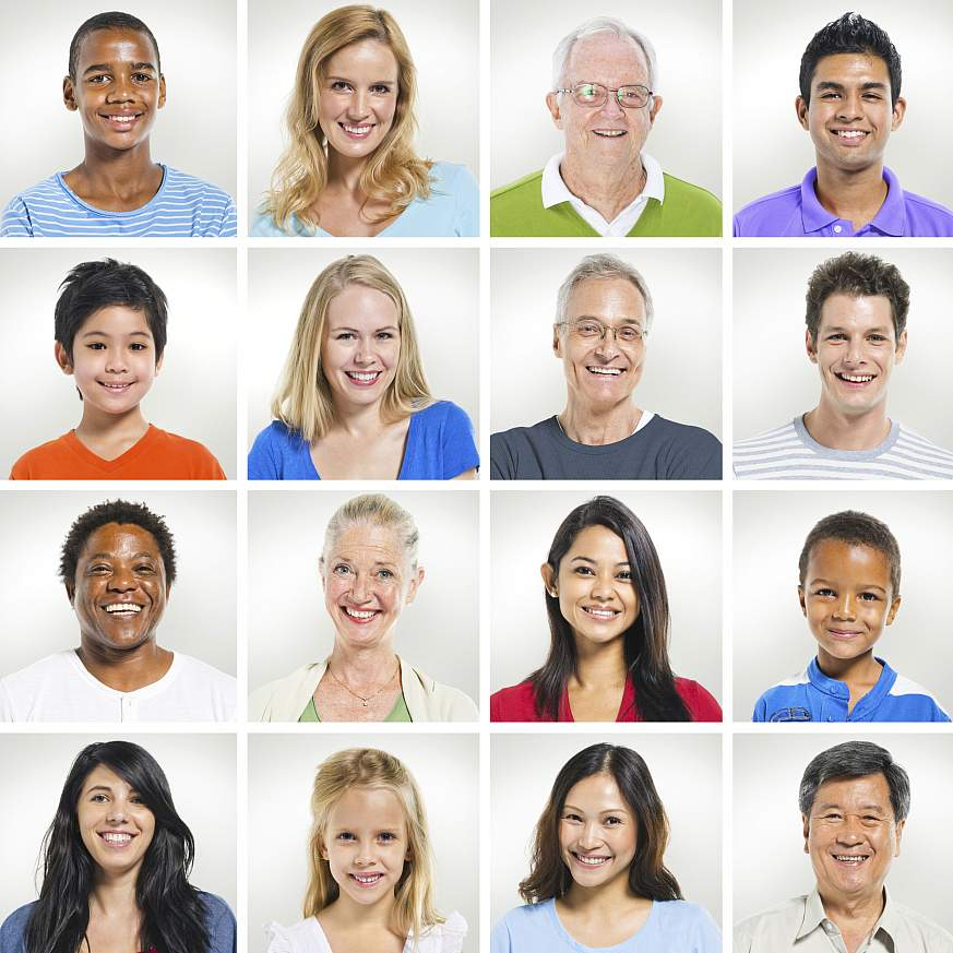 Portraits of people of different ages, races and ethnicities.