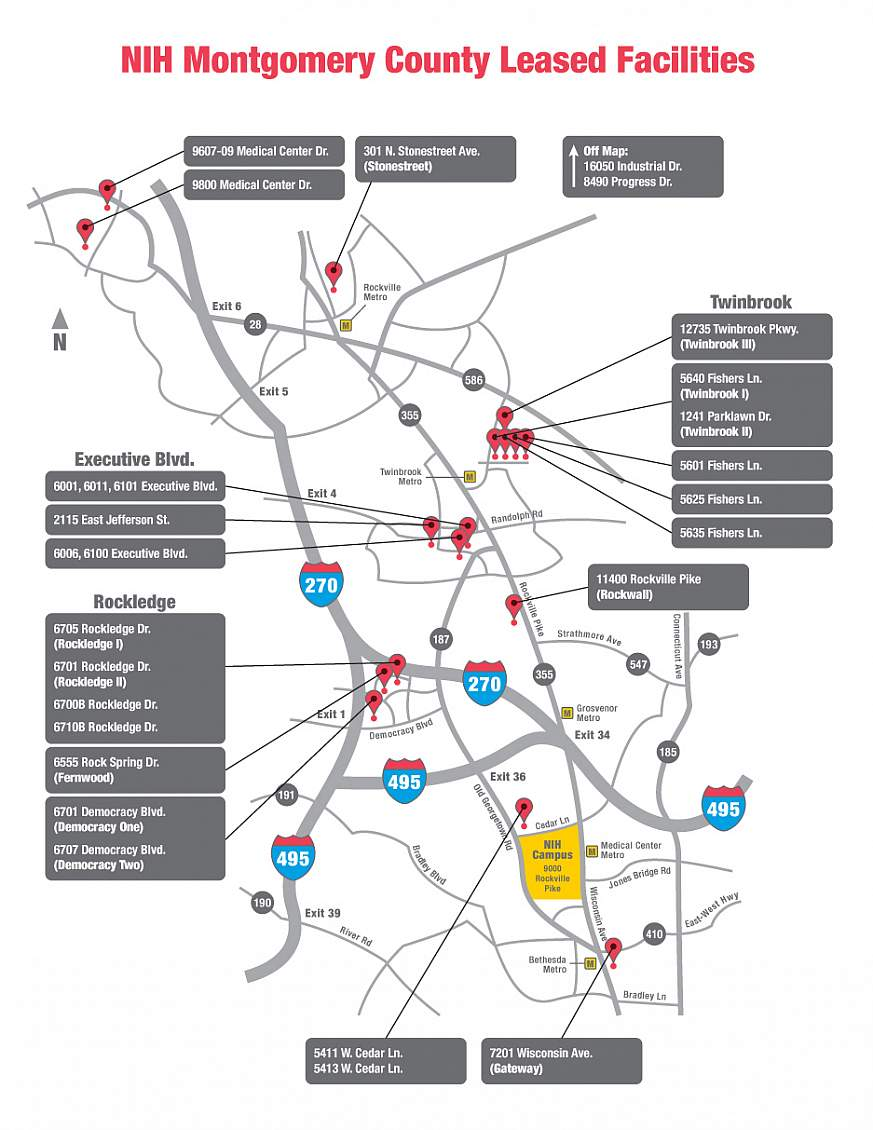 Map showing NIH facilities leased from Montgomery County, Maryland.