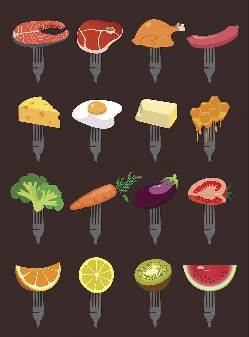 Illustration of a variety of foods on forks