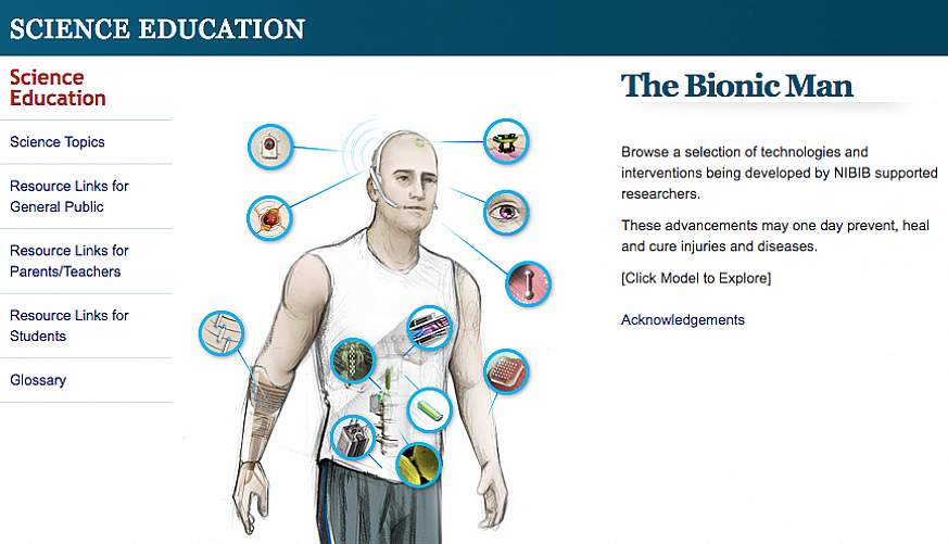 Screenshot of the bionic man science education website.