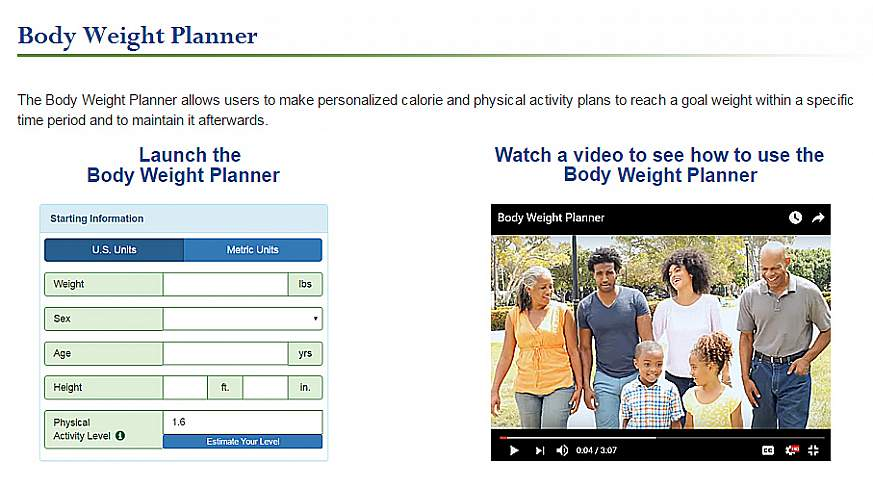 A screenshot of the Body Weight Planner website.