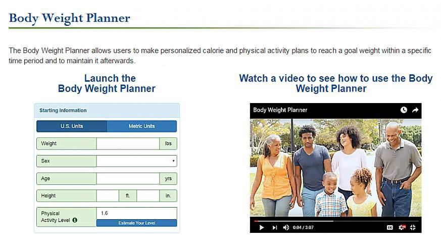 A screenshot of the Body Weight Planner website.