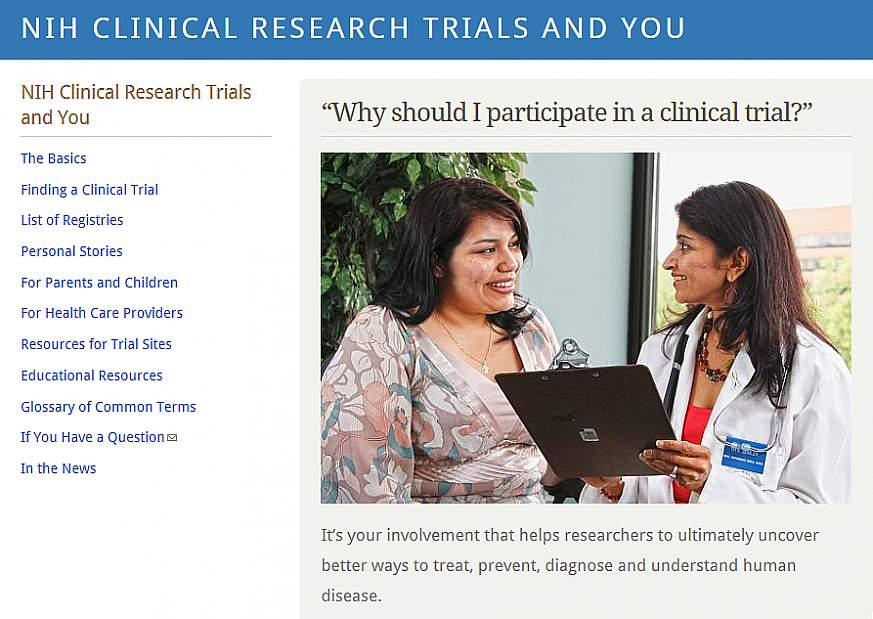 Screenshot of the NIH Clinical Research Trials and You website.