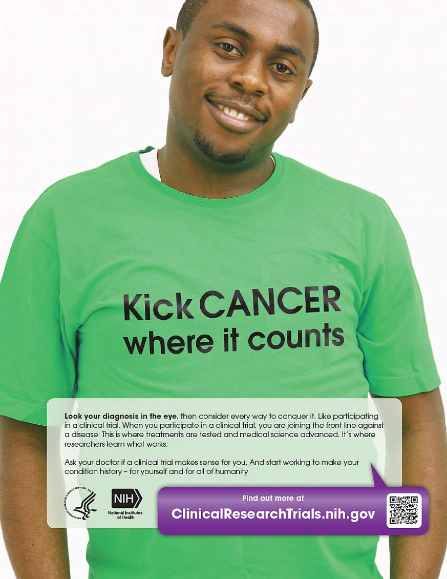 """""""Kick Cancer Where It Counts."""" poster"""