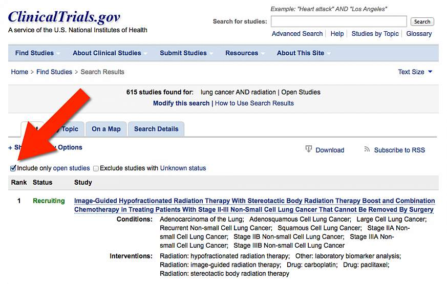 Screenshot of the advanced search on ClinicalTrials.gov