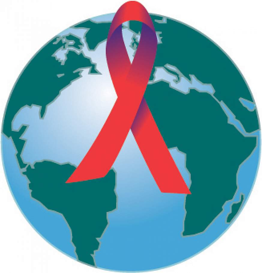 HIV Vaccine Trials Network logo - image of a crossed red ribbon superimposed over a globe.
