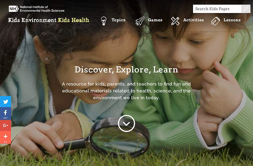 A screenshot of the Kids Environment Kids Health website.