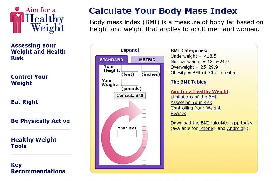 A screenshot of the NHLBI Calculate Your Body Mass Index page.
