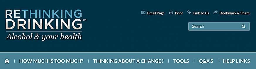 Screenshot of the Rethinking Drinking website.