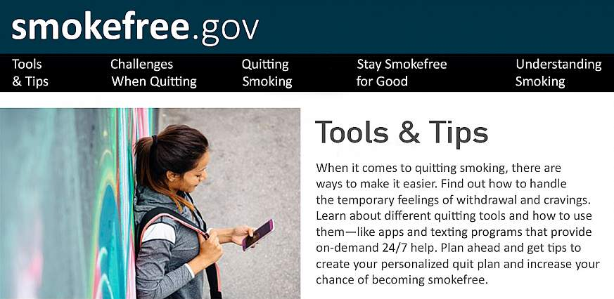 Screenshot of the Smokefree.gov Tools and Tips page.
