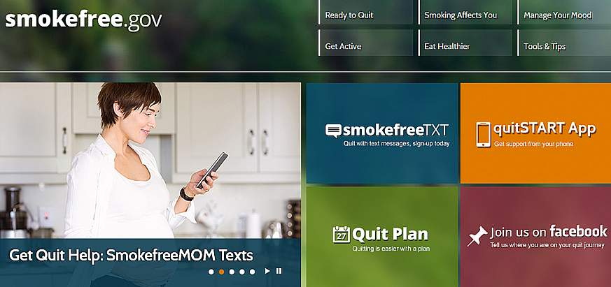 Screenshot of the smokefree.gov website.