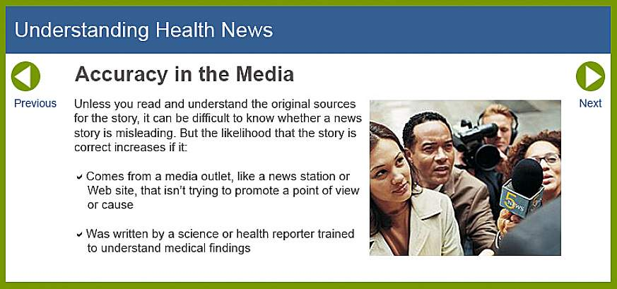 Screenshot of the Understanding Health News website.