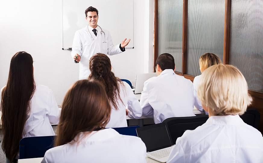 A doctor teaching a class.