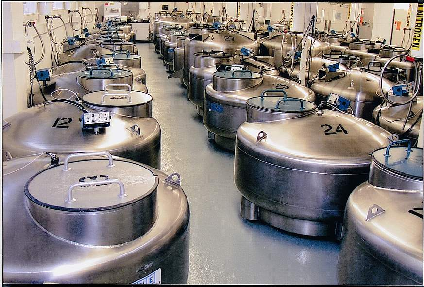 Cryogenic storage tanks at the Coriell Institute for Medical Research