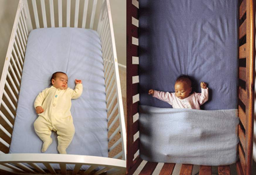 Infants positioned on backs for sleep.