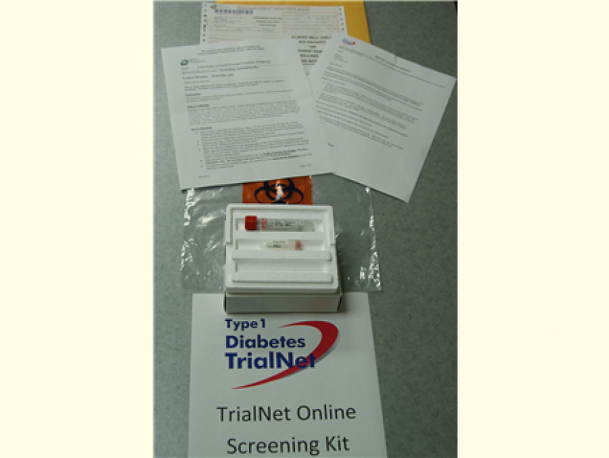 Kit with questionnaire and vial for blood test