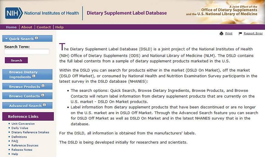 DSLD website.