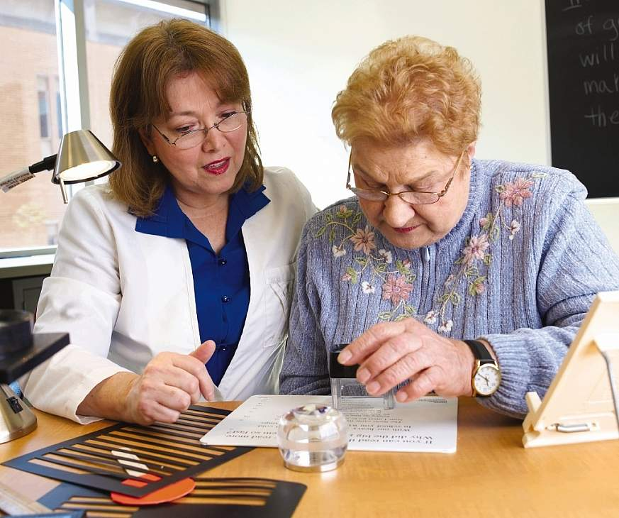 Image of an occupational therapist and a low-vision patient