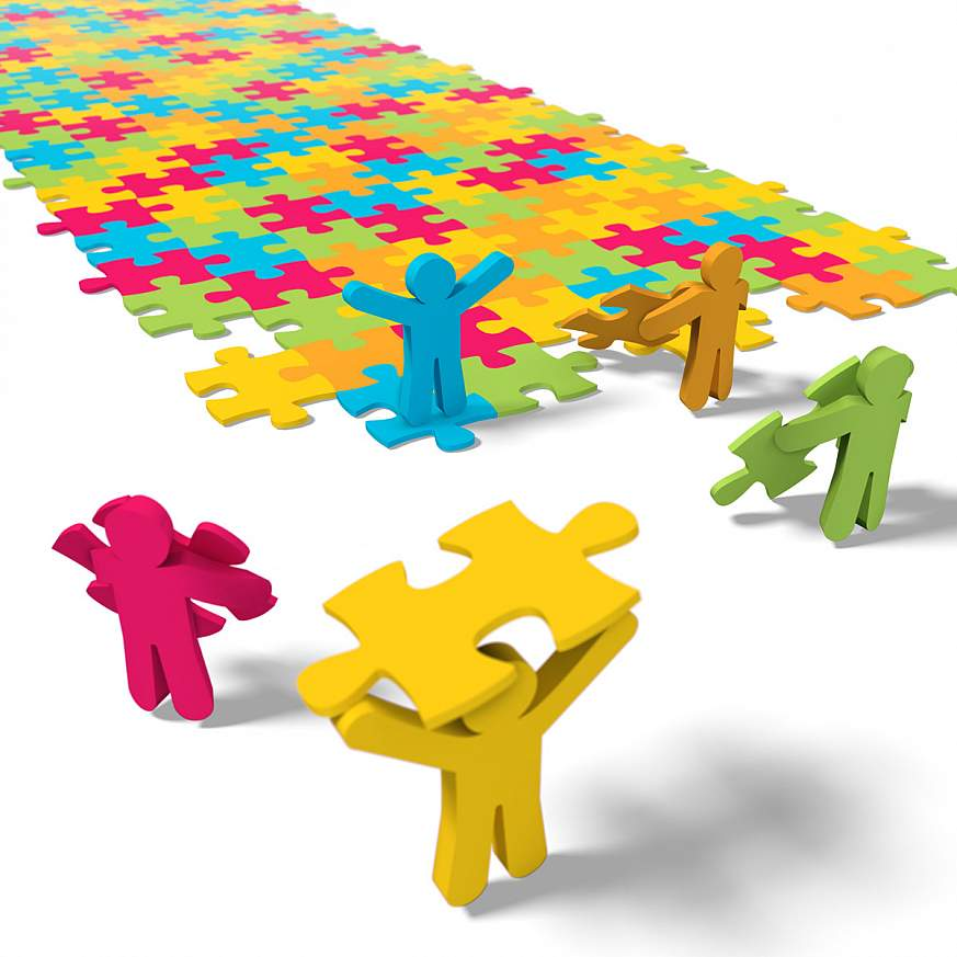 Illustration of people putting together a puzzle