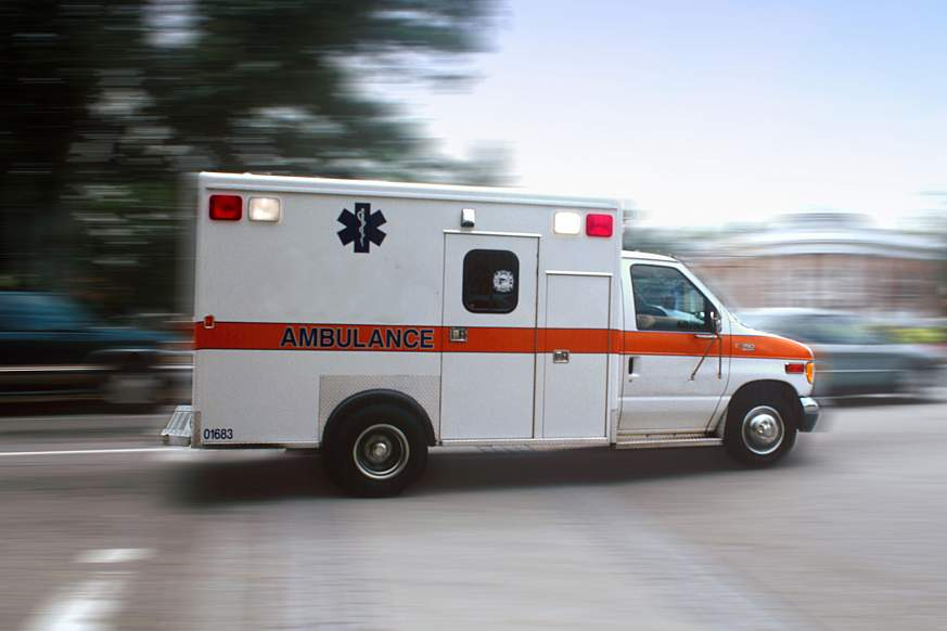 Ambulance racing to the emergency room