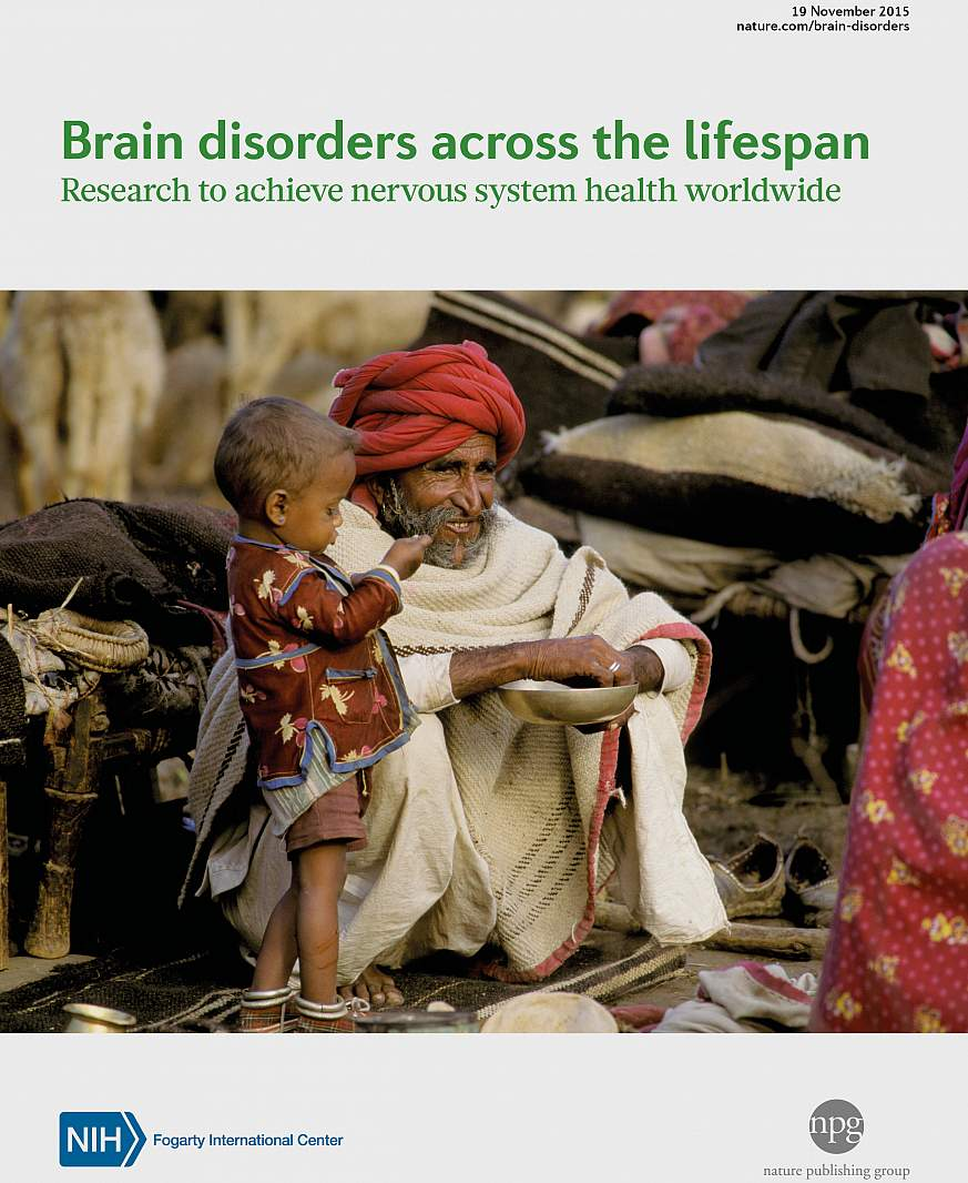 Cover of supplement to journal Nature, titled Brain Disorders Across the Lifespan: Research to achieve nervous system health worldwide
