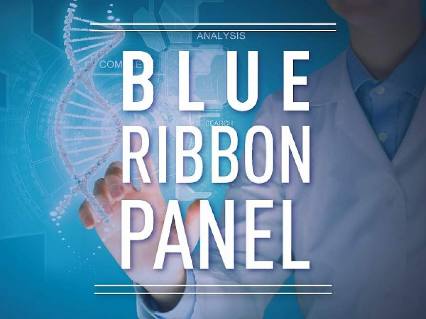 Blue Ribbon Panel text superimposed over a scientist manipulating a DNA model.