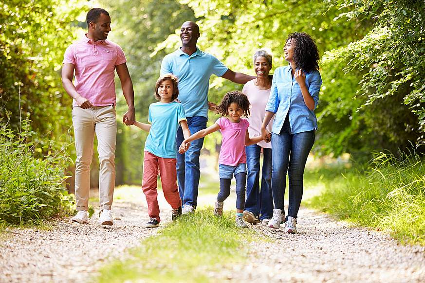 Image of a family walking