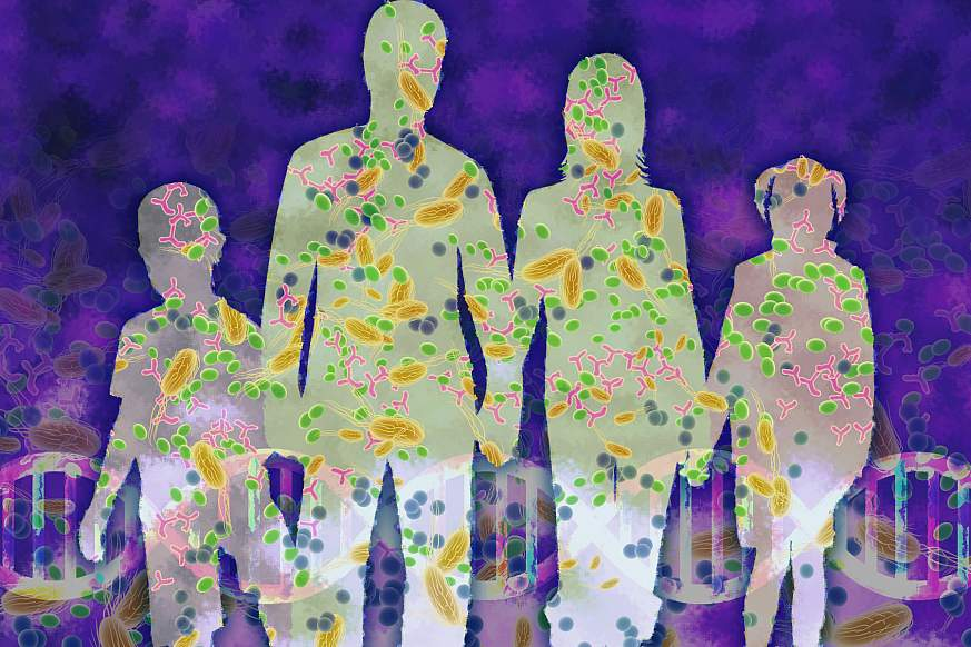 Illustration of silhouettes of people with microbes