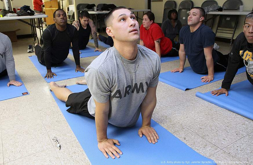 Image of veterans at a yoga class