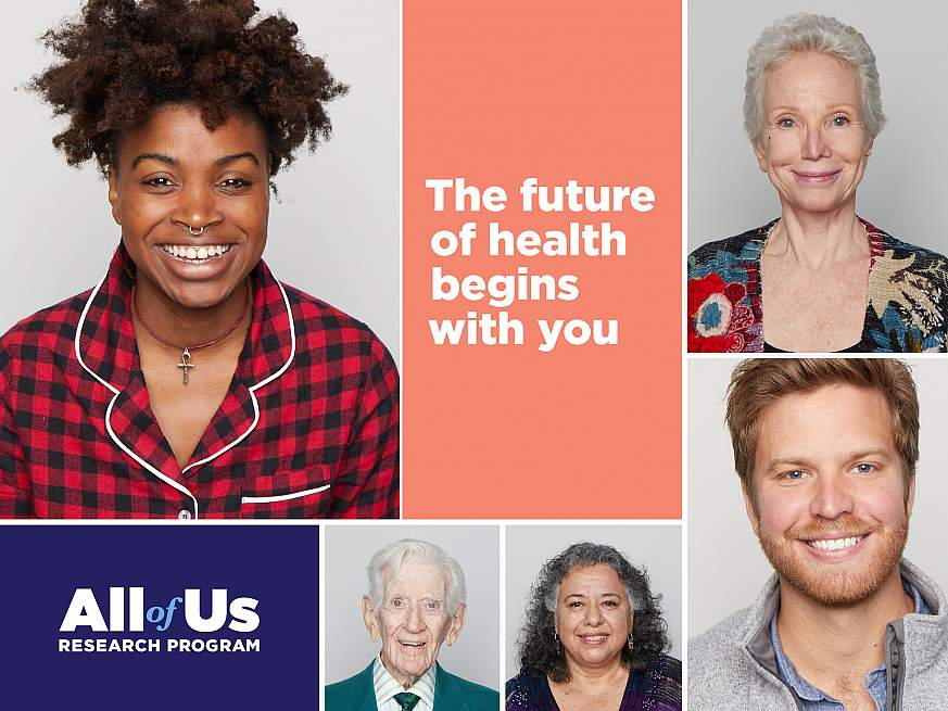 "Picture of diverse group of people with the All of Us Research Program logo and tagline, ""The future of health begins with you."""