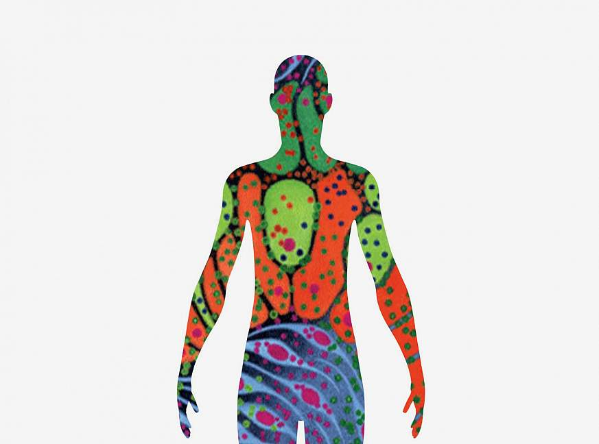 Illustration of a human silhouette filled with brightly-colored cell-like shapes