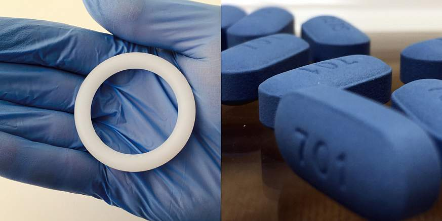 Image of vaginal ring and a pill.