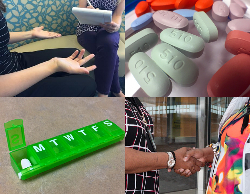 Collage of HIV care