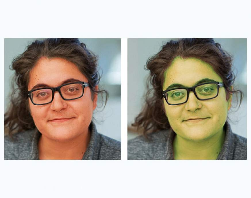 Two versions of the same photo of a woman. On the left, her skin tone is red. On the right, it's green.