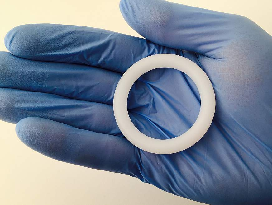 A silicone vaginal ring identical to those used in the ASPIRE trial.