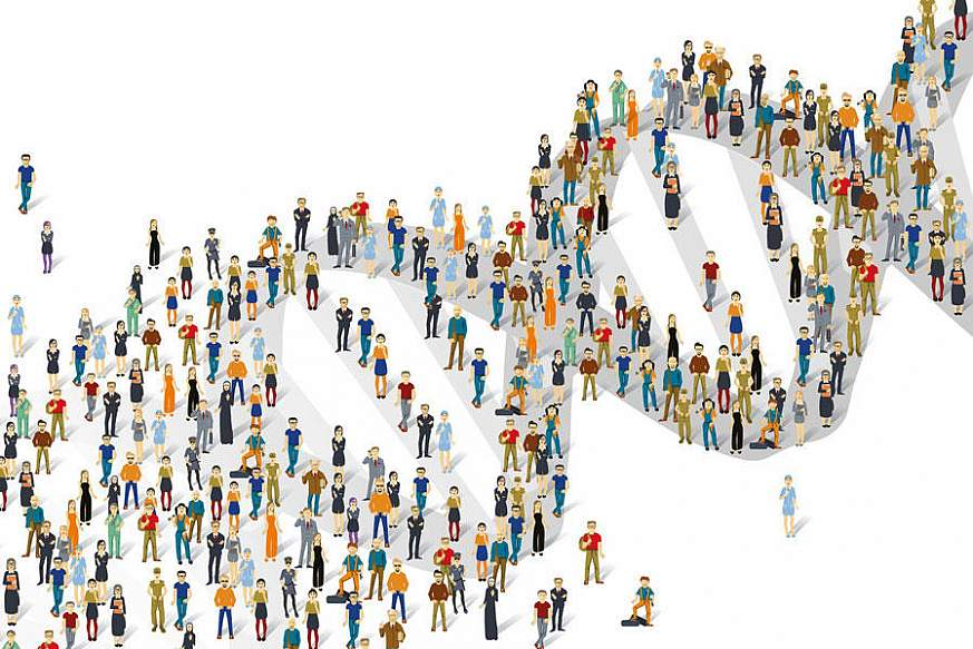 Illustration of people standing on a double helix