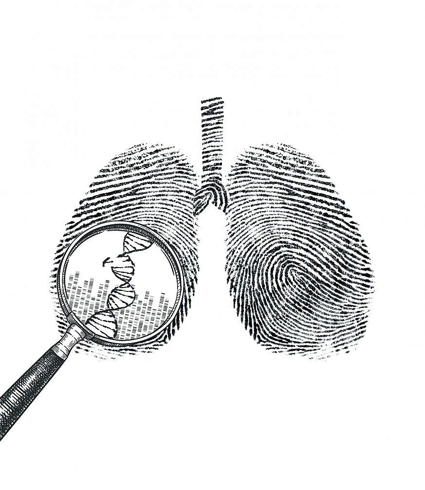 Illustration of lungs made up of DNA sequences. A magnifying glass hovers over a portion of a DNA sequence showing a mutational change.
