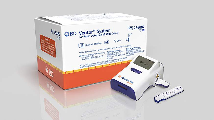 BD Veritor™ System for Rapid Detection of SARS CoV 2. The lateral flow immunoassay with a reader delivers electronic results intended to be used in point-of-care settings.