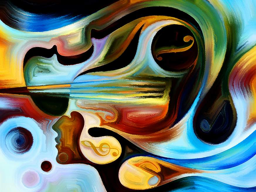Abstract painting depicting a human head and music.
