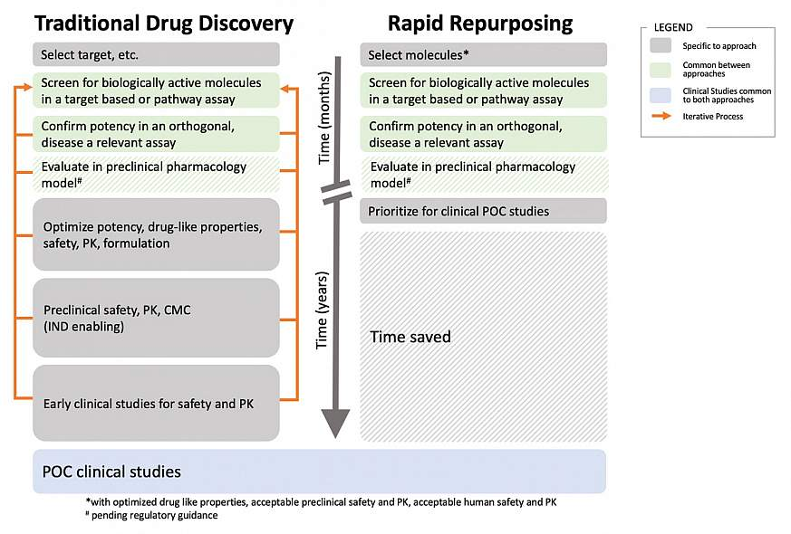 "Standard ""traditional"" approach to drug development with an abbreviated approach suitable for pandemic conditions"