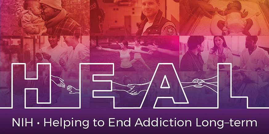 Photo collage and text representing the NIH HEAL Initiative