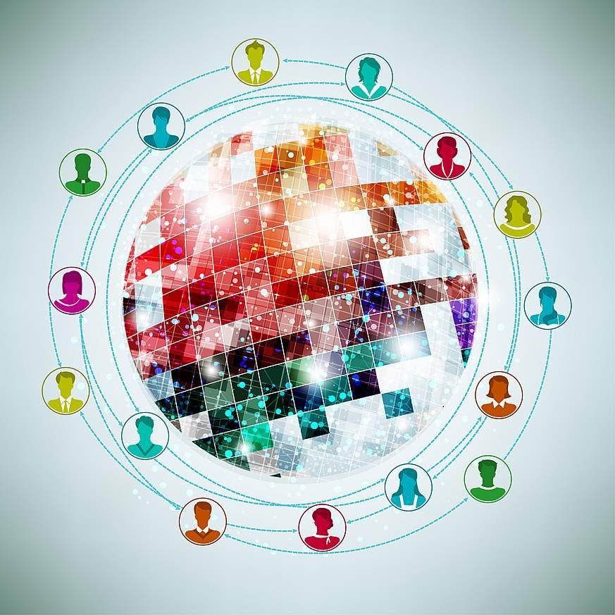 Illustration depicting global social media.