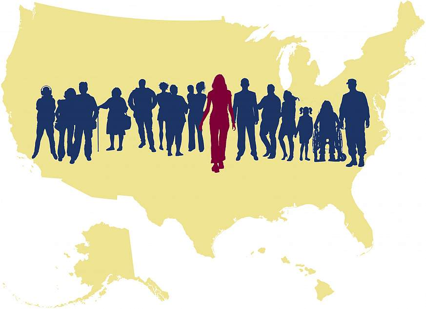 A graphical map of the United States superimposed by a group of silhouetted people. A single person in the center stands out.
