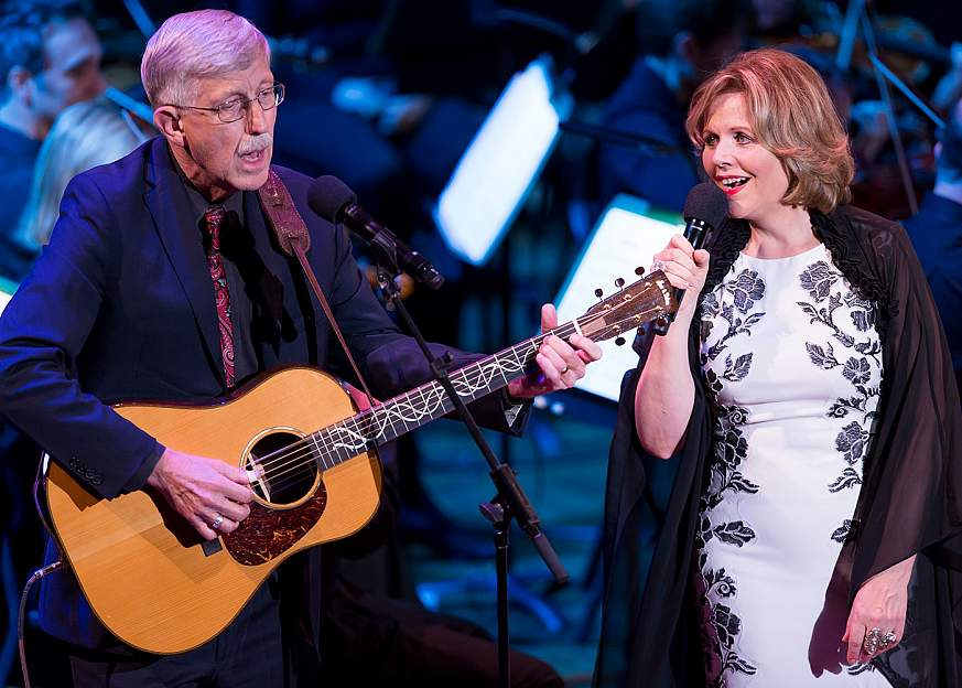 NIH Director Dr. Francis Collins and renowned soprano Renée Fleming perform on stage at the Kennedy Center on June 2, 2017 for the first Sound Health Music and the Mind event.