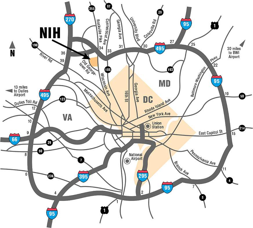 A map of the Washington, D.C., beltway showing the location of NIH.